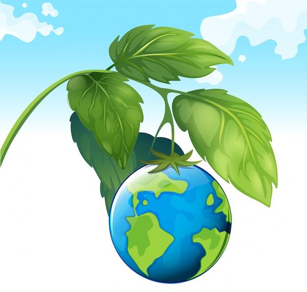 Red het wereldthema met aarde en plant