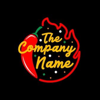 Red hot chili peper vector logo sjabloon met vuur line art frame op zwarte achtergrond