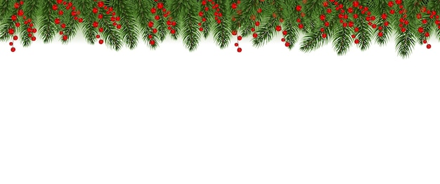 Red merry christmas border met holly berry witte achtergrond