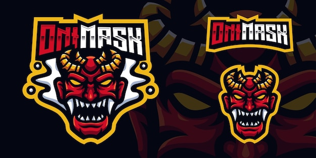 Red oni mask japan gaming mascot logo template voor esports streamer facebook youtube