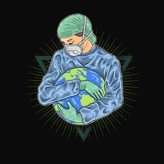 Red onze aarde van het coronavirus