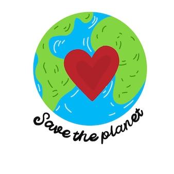 Red onze planeet aarde ecologie en milieubescherming dag van de aarde 22 april