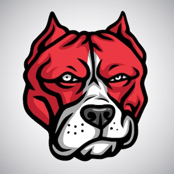 Red pitbull mascot smirking. vector logo sjabloon