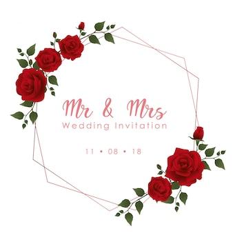 Red rose wedding invitation