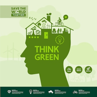 Red samen de wereld groene ecologie.