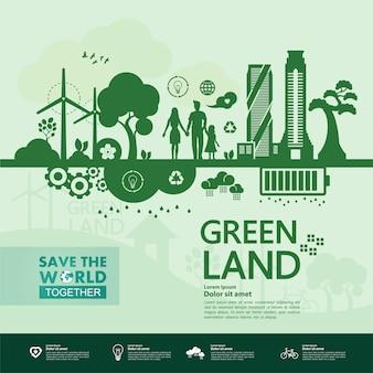 Red samen de wereld groene ecologie