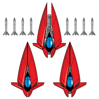 Red space fighter game asset