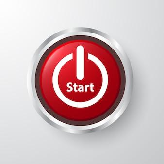 Red start 3d-ontwerppictogram