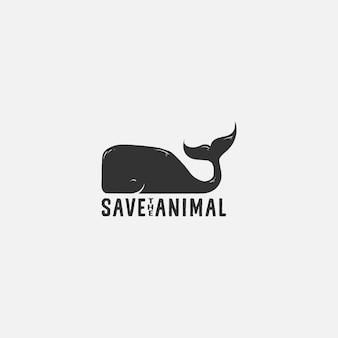 Red whale animal logo illustration
