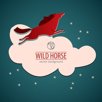 Red wild horse illustratie