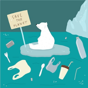 Red witte beren en de oceaan tegen vuilnis