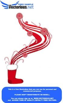 Red x-mas boot op wit