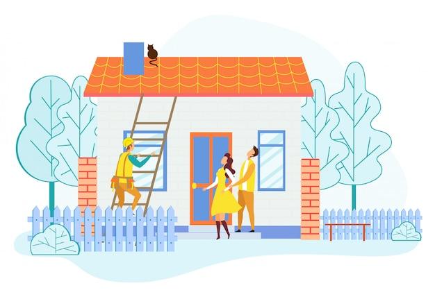 Redder klimmen via ladder op het dak van het huis save cat