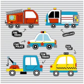 Reddingsauto instellen grappige tekenfilm, vectorillustratie