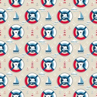 Reddingsboei naadloos patroon met beer