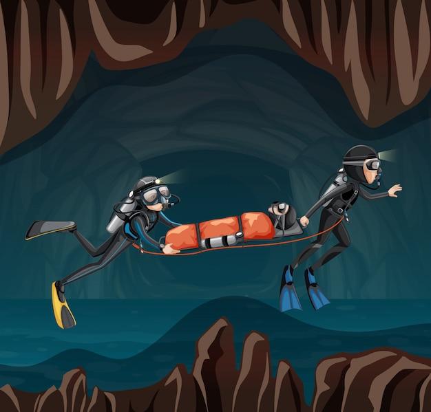 Reddingsscène in ondergrondse grot
