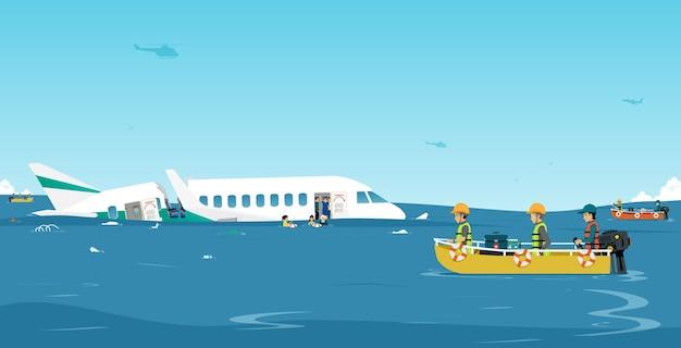 Reddingswerkers helpen passagiers in een vliegtuig dat op zee is neergestort