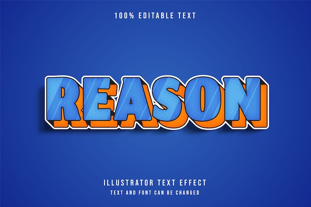 Reden, 3d bewerkbaar teksteffect blauw oranje komische stijl
