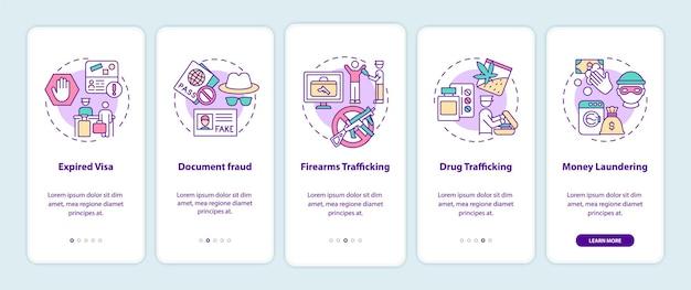Redenen voor deportatie onboarding mobiele app paginascherm. wetgeving walkthrough 5 stappen grafische instructies met concepten. ui, ux, gui vectorsjabloon met lineaire kleurenillustraties