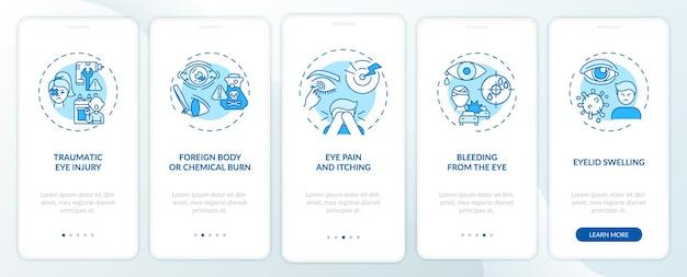 Redenen voor noodoogonderzoek bij het onboarding van het paginascherm van de mobiele app met concepten. doorloop 5 stappen door vreemd lichaam of chemische verbranding. ui-sjabloon met rgb-kleurenillustraties