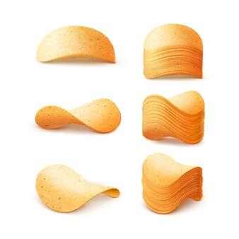 Reeks aardappel knapperige chips stacks close omhoog geïsoleerd op witte achtergrond