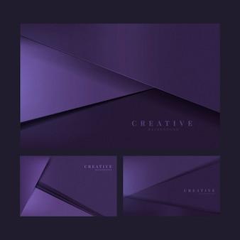 Reeks abstracte creatieve achtergrondontwerpen in donkerpaars