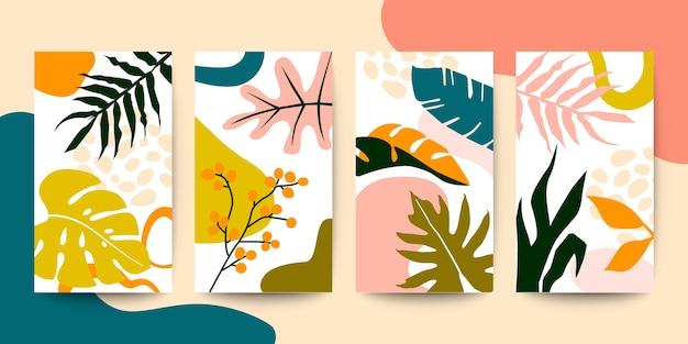 Reeks abstracte kleurrijke bloemsierkunstbladeren op witte verticale dekking als achtergrond