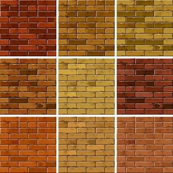 Reeks achtergronden van de patronenmuur van baksteen naadloze texturen