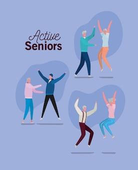 Reeks actieve cartoons van de seniorenvrouw en man op purpere achtergrondontwerp, activiteitsthema