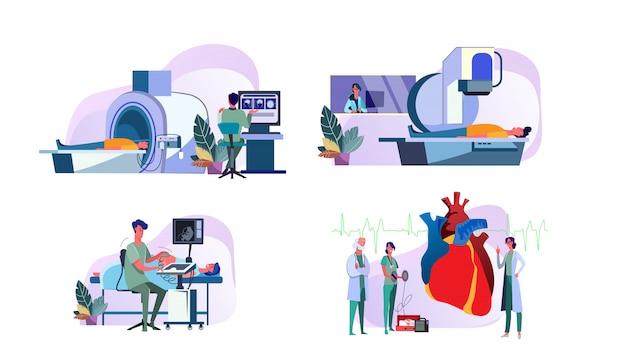 Reeks artsen die medische apparatuur in werking stellen die patiënten onderzoeken