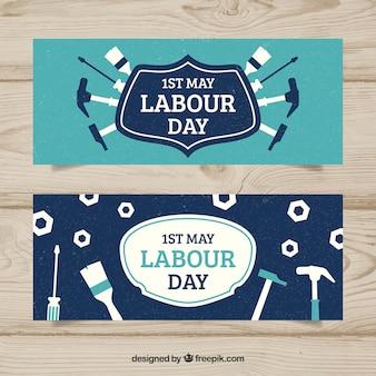Reeks banners van de arbeidsdag in uitstekende stijl