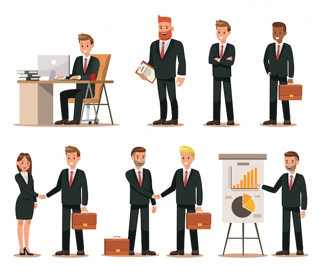 Reeks bedrijfskarakters die in bureau werken