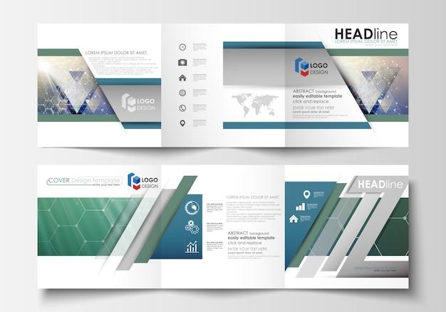 Reeks bedrijfsmalplaatjes voor drievoudige brochures