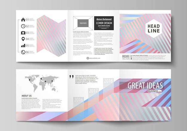 Reeks bedrijfsmalplaatjes voor drievoudige vierkante brochures