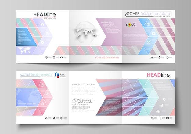 Reeks bedrijfsmalplaatjes voor drievoudige vierkante brochures.