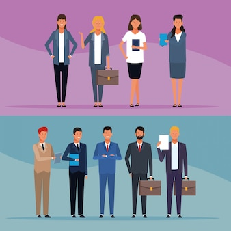 Reeks bedrijfsmannen en vrouwen