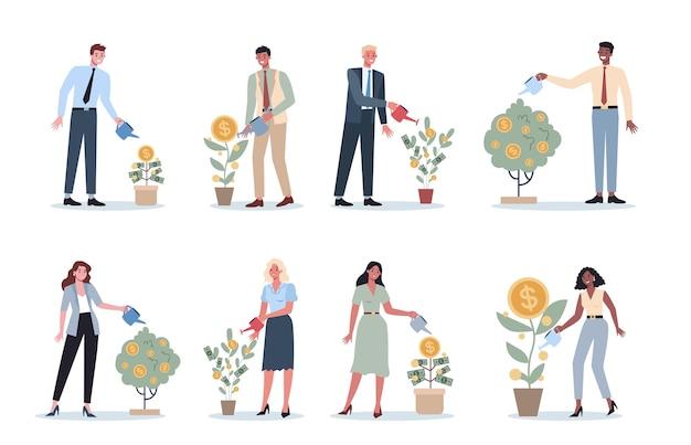 Reeks bedrijfsmensen die een geldboom drenken. gelukkig succesvol personage met een gouden muntenboom. financieel welzijn, groei en investeringen.