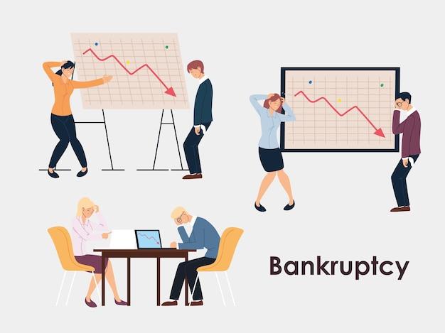 Reeks bedrijfsmensen in bureau, het ontwerp van de financiële crisis of het economische probleemillustratie