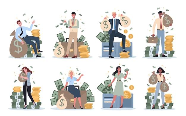 Reeks bedrijfsmensen met geld