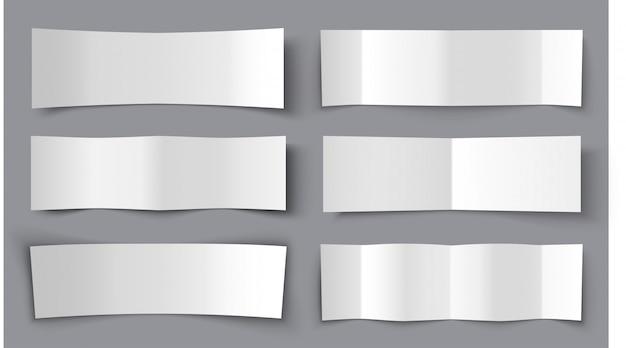 Reeks bended-document banners met schaduwen, materiële ontwerpillustratie