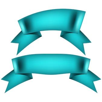 Reeks blauwe lintbanners op witte achtergrond.