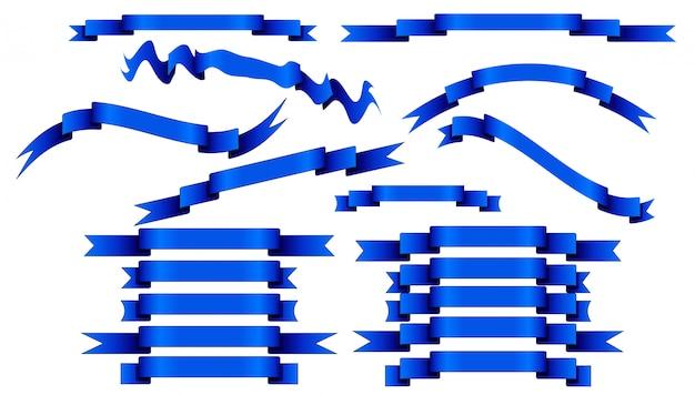 Reeks blauwe linten op witte achtergrond.