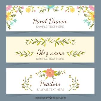 Reeks bloemen blog headers