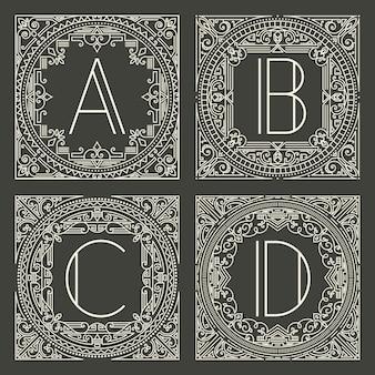 Reeks bloemen en geometrische monogramemblemen met hoofdletter op donkergrijze achtergrond.