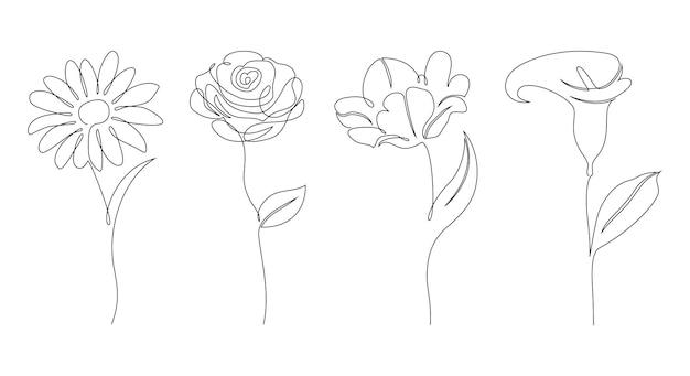 Reeks bloemen op witte achtergrond