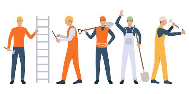Reeks bouwers, voorman en manusje van alles die hulpmiddelen houden en werken