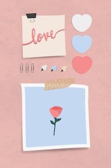 Reeks briefpapier van het liefdethema met spelden en klemmen op roze geweven achtergrondvector