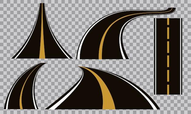 Reeks buigende wegen en snelwegen vectorillustraties
