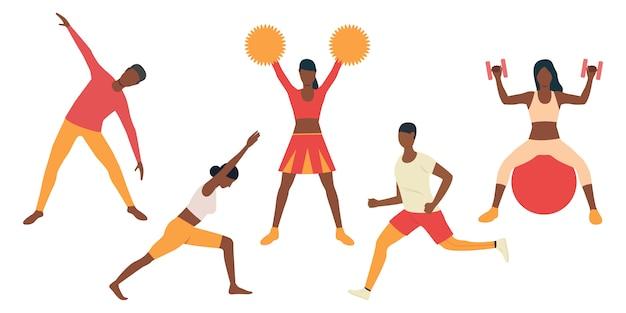 Reeks cheerleaders die voor prestaties voorbereidingen treffen