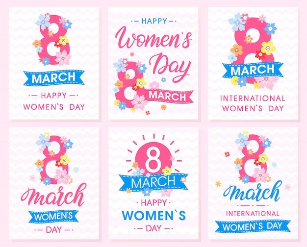 Reeks creatieve kaarten van de vrouwendag met linten en verschillende bloemen.